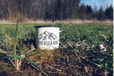 Enamel Mug Outdoors Mockup
