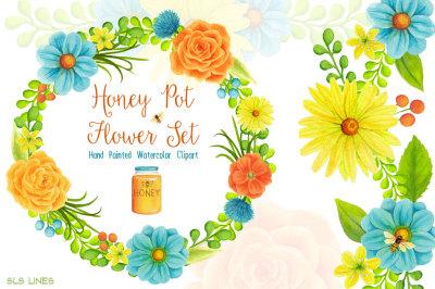 Honey Pot Watercolour Flowers
