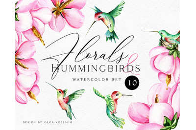Watercolor hummingbird clipart. Tropical pink flower clipart