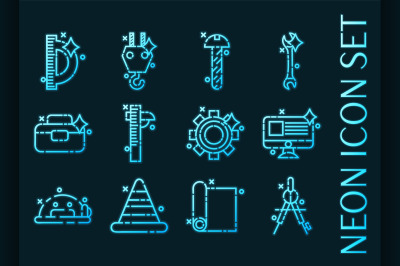 Set of Engineering Blue glowing neon icons