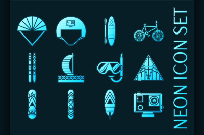 Set of Extreme sports Blue glowing neon icons
