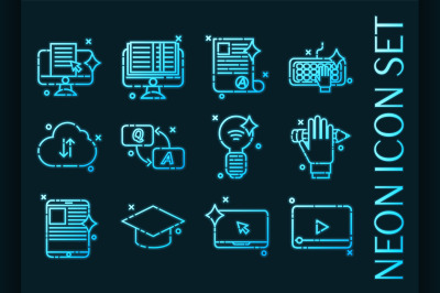 Set of E-education Blue glowing neon icons.