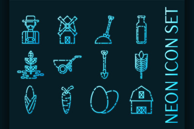 Set of Farm Blue glowing neon icons.