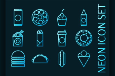Set of Fast food Blue glowing neon icons