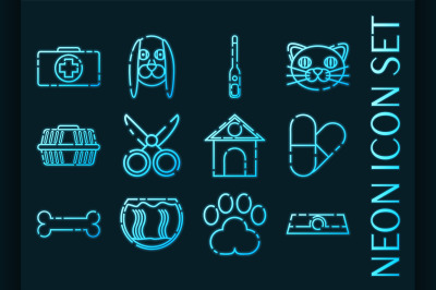 Veterinary pharmacy set icons. Blue neon style.