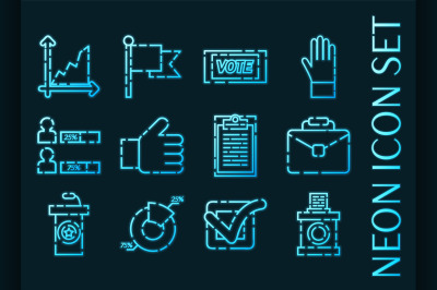 Vote set icons. Blue glowing neon style.