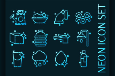 Water set icons. Blue glowing neon style.