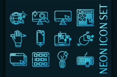 Web design set icons. Blue glowing neon style