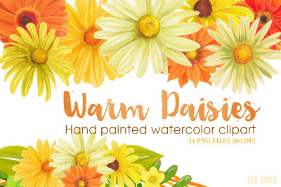Yellow Daisies Watercolor Clipart
