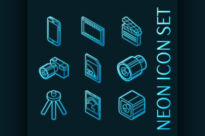 Photo outline set icons. Blue neon style