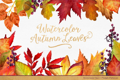 Watercolor Autumn Leaves & Branches Clipart