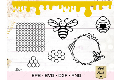 Bee Honeycomb SVG, Beehive and drips set