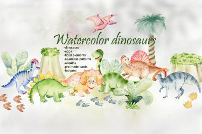 Watercolor Dinosaurs. Kit.