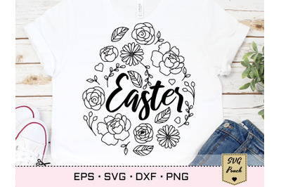 Easter Egg SVG with flowers decoration