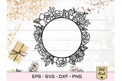 Floral circle frame SVG