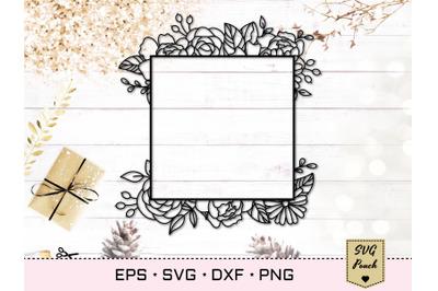 Floral square frame SVG