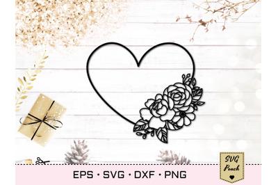 Floral heart frame SVG