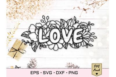 Floral love text SVG