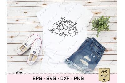 Peony Flowers SVG