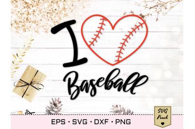 I Love Baseball Heart SVG