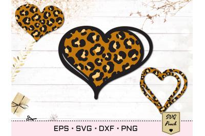 Leopard print heart SVG