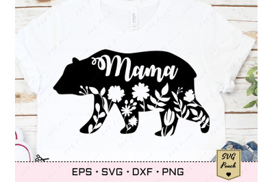 Mama Bear SVG Floral Silhouette