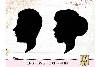 Portrait SVG, Male and Female silhouette vector
