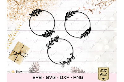 Circle wreath with leaves SVG