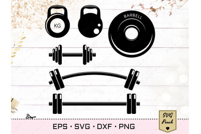Dumbbell and Barbell SVG set