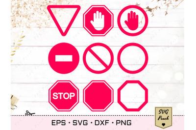 Traffic SVG restricted stop signs set