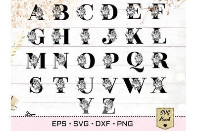 Full Alphabet floral monogram font initial SVG