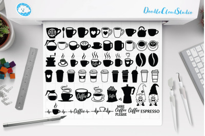 Coffee Bundle SVG Files, Coffee Cup, Coffee Heartbeat, Coffee Monogram