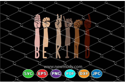 Be kind sign language Svg-  Hands Raised Togther With Different Skin C