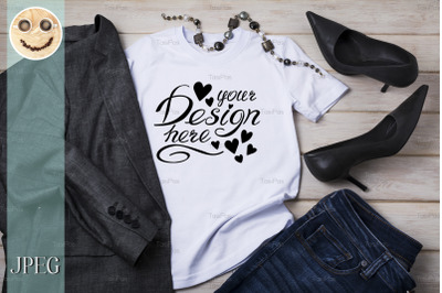 Womens T-shirt mockup with high heels and blazer.