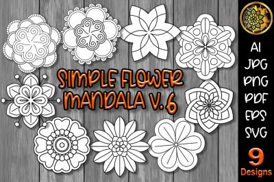 Simple Flower Mandala Set-6