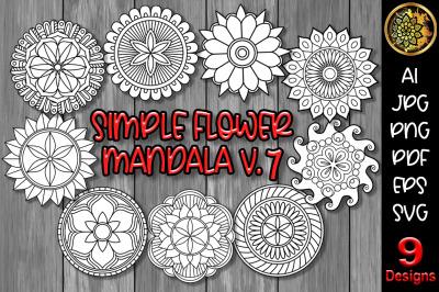 Simple Flower Mandala Set-7