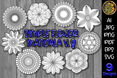 Simple Flower Mandala Set-8