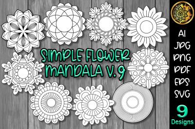 Simple Flower Mandala Set-9