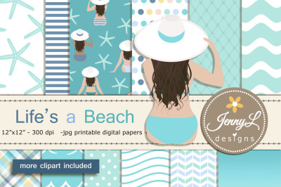 Beach Summer Digital Papers and Clipart