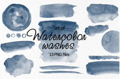 Navy blue watercolor stains Navy washes clipart Invitation decor
