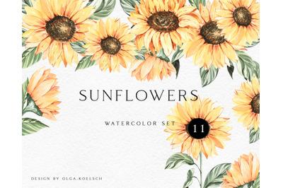 Sunflower watercolor clipart PNG. Boho sunflower illustration