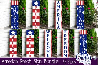 American Flag Svg, 4th of July Svg America Porch Sign Bundle