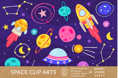 Space clipart. Digital prints, stickers. Vector, flat set.