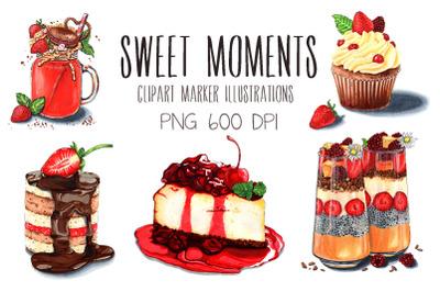 Sweet moments marker illustrations set