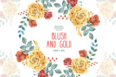 Watercolor BLUSH AND GOLD roses