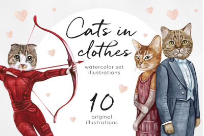 Movie cats. Watercolor set 10 exclusive cat illustrations