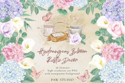 Hydrangeas Roses Calla Lilies Bloom Rustic Clipart Home Decor
