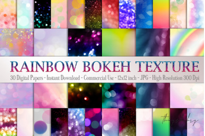 30 Rainbow Shimmering Bokeh Colorful Festival Digital Papers