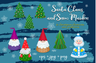 Santa Claus, Snow Maiden and Christmas elements