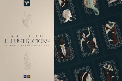 12 Art Deco illustrations